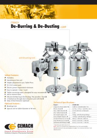 Cemach Elevating Type De-Burring & De-Dusting cGMP