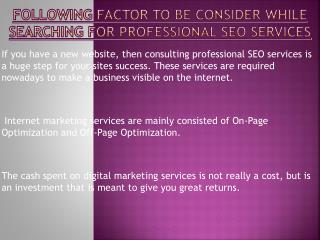 Remember These Points While Searching For Professional SEO services