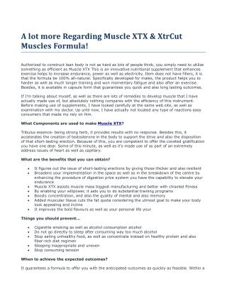 A lot more Regarding Muscle XTX & XtrCut Muscles Formula!