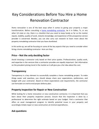 Key Considerations Before You Hire a Home Renovation Contractor