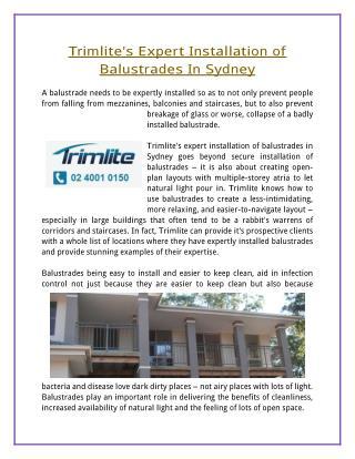 Trimlite's Expert Installation of Balustrades In Sydney