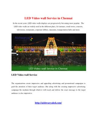 LED Video wall Service in Chennai
