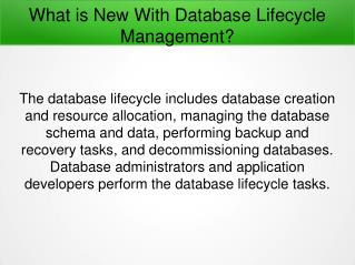 What is New With Database Lifecycle Management?