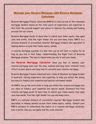 Manage your Reverse Morgage with Reverse Mortgage Calculator