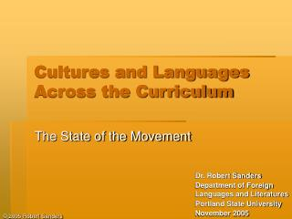 Cultures and Languages Across the Curriculum