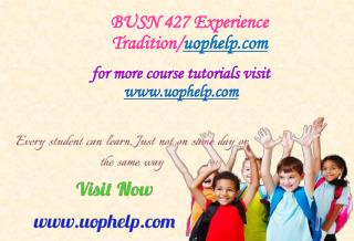 BUSN 427 Experience Tradition/uophelp.com