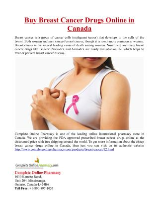 Buy Breast Cancer Drugs Online in Canada