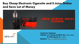 Buy Cheap Electronic Cigarette and E-Juice Online and Save Lot of Money