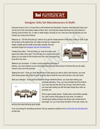 Designer Sofa Set Manufacturers Suppliers Delhi India