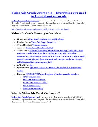 Video Ads Crash Course 3.0 review and MEGA $38,000 Bonus - 80% Discount