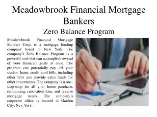 Meadowbrook Financial Mortgage Bankers - Zero Balance Program