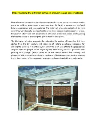 Understanding the different between orangeries and conservatories
