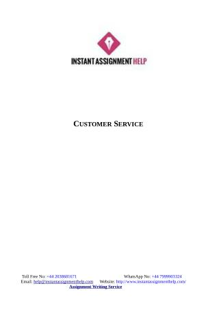 Instant Assignment Help - Sample on Customer Service