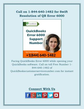 Call on 1-844-640-1482 for Swift Resolution of QB Error 6000