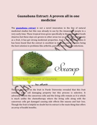 Guanabana Extract A proven all in one medicine