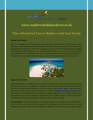 Plan a Wonderful Tour to Maldives with Your Family