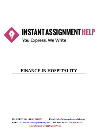 Instant Assignment Help - Sample on Finance in Hospitality
