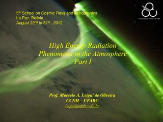 High Energy Radiation Phenomena in the Atmosphere