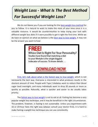 Weight Loss - What Is The Best Method For Successful Weight Loss?