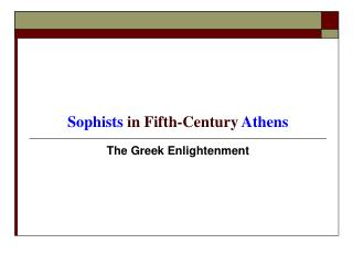 Sophists  in Fifth-Century  Athens
