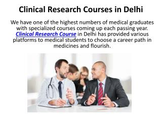 Clinical Research Courses in Delhi