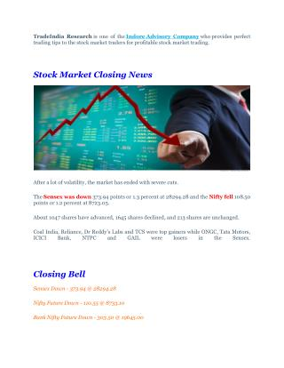 Profitable Trading Calls With Stock Market Closing News - 26th September