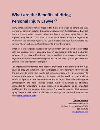 What are the Benefits of Hiring Personal Injury Lawyer