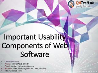 What are Important Usability Components of Web Software?