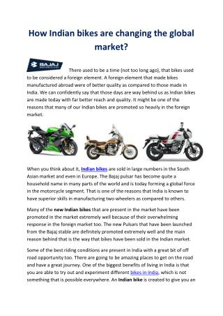 How indian bikes are changing the global market