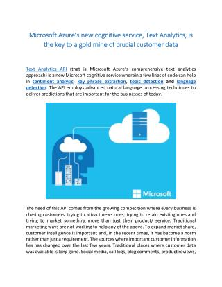 Microsoft Azure's new cognitive service, Text Analytics, is the key to a gold mine of crucial customer data