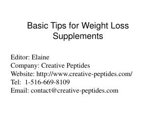 Basic Tips for Weight Loss Supplements