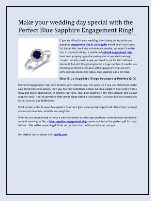Make your wedding day special with the Perfect Blue Sapphire Engagement Ring!