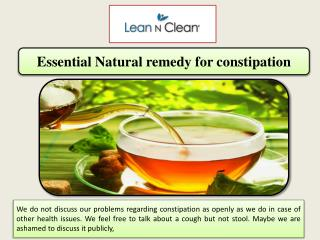 Essential Natural remedy for constipation