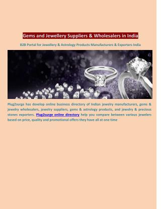 Gems and Jewellery Suppliers & Wholesalers in India