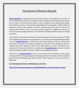 The Success of Shannon Masjedi