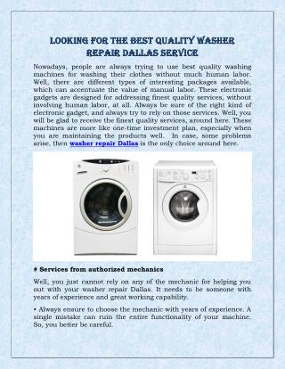 Looking For The Best Quality Washer Repair Dallas Service