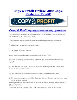 Copy & Profit review- Copy & Profit (MEGA) $21,400 bonus