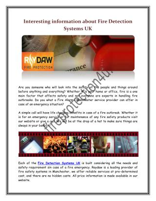 Interesting information about Fire Detection Systems UK