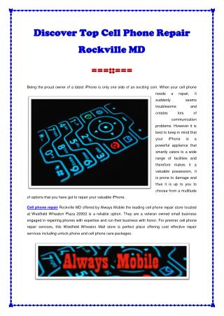 Discover Top Cell Phone Repair Rockville MD