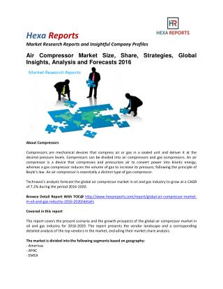 Air Compressor Market in Oil and Gas Market Size, Share, Trends and Growth To 2020