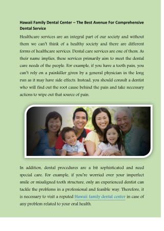 Dental Care for Your Family in Honolulu