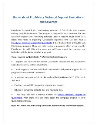 Know about ProAdvisor Technical Support Limitations and Coverage
