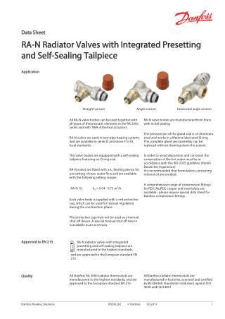 Danfoss RA-N Radiator valves with integrated presetting and self-sealing