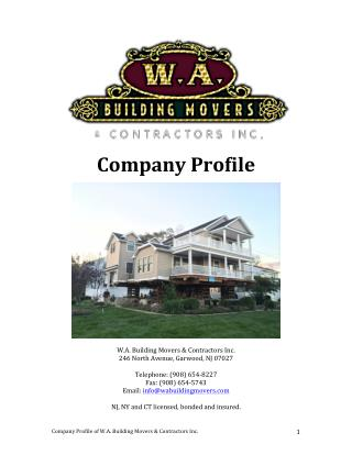 Company Profile - W.A. Building Movers