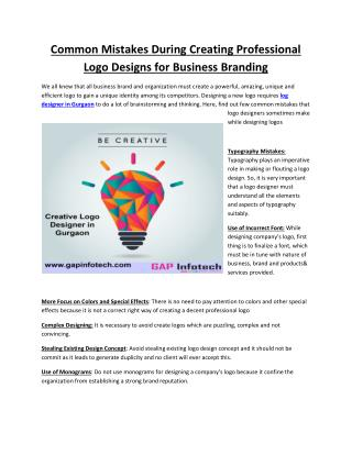 Common Mistakes During Creating Professional Logo Designs for Business Branding