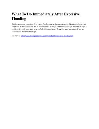 What To Do Immediately After Excessive Flooding