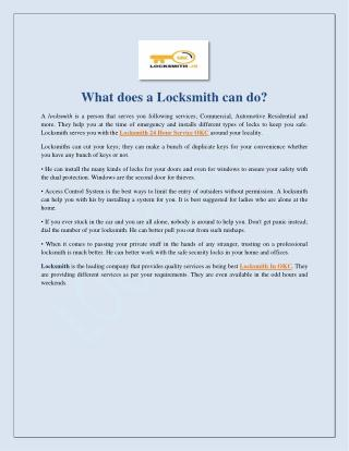 What Does A Locksmith Can Do