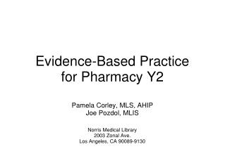 Evidence-Based Practice  for Pharmacy Y2