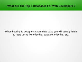 What Are The Top 5 Databases For Web Developers?