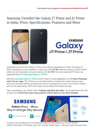 Samsung Unveiled the Galaxy J7 Prime and J5 Prime in India: Price, Specifications, Features and More